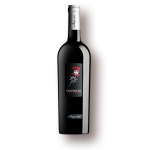 a bottle of red wine sartiglia
