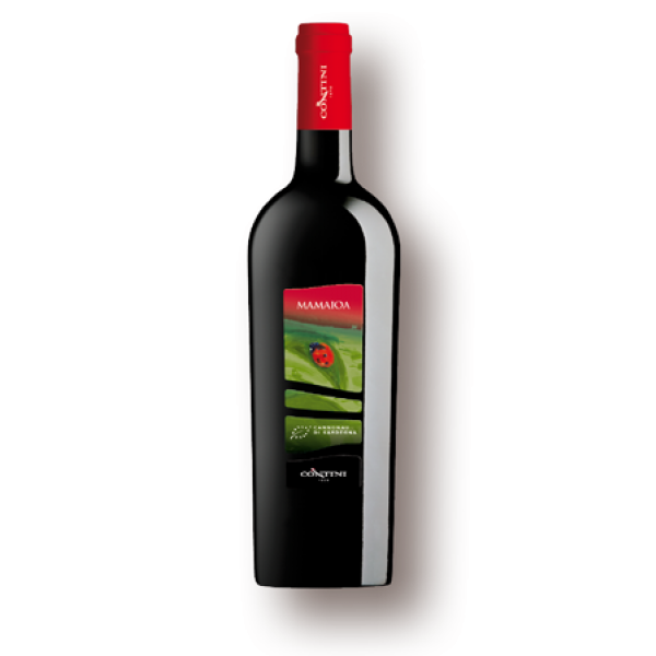 a bottle of organic red wine